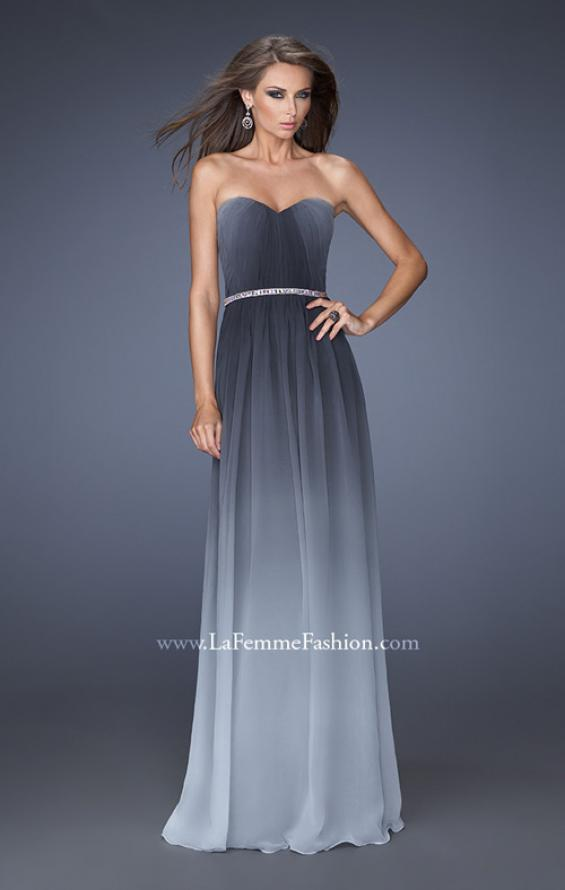 Picture of: Ombre Chiffon Dress with Jeweled Belt and Open Back in Silver, Style: 19989, Detail Picture 3