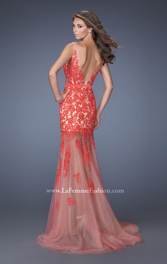 Picture of: Mermaid Style Prom Dress with Boat Neck and Lace, Style: 19991, Back Picture