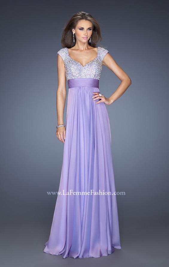 Picture of: Long Prom Gown with Pearl and Stone Encrusted Bodice in Purple, Style: 20003, Detail Picture 1