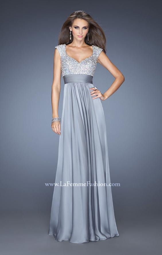 Picture of: Long Prom Gown with Pearl and Stone Encrusted Bodice in Silver, Style: 20003, Detail Picture 2
