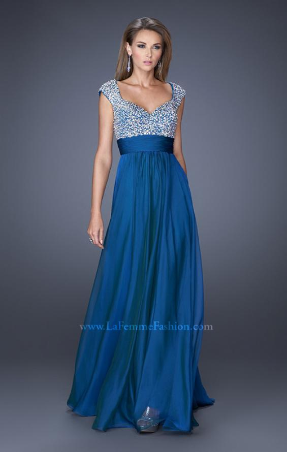 Picture of: Long Prom Gown with Pearl and Stone Encrusted Bodice in Blue, Style: 20003, Detail Picture 3