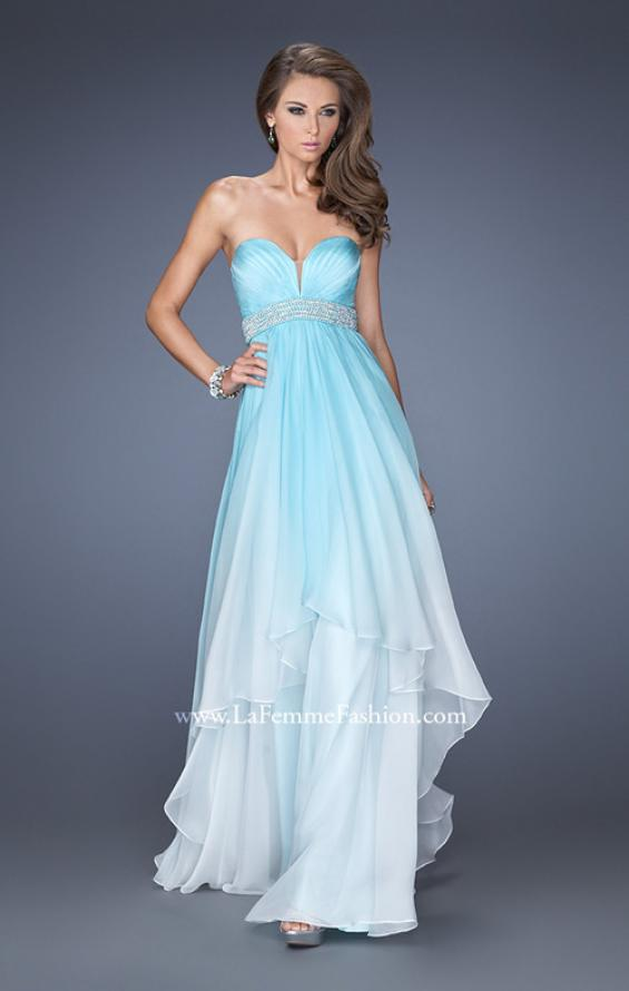 Picture of: Ombre Dyed Long Prom Gown with Plunging Neckline in Blue, Style: 20005, Main Picture