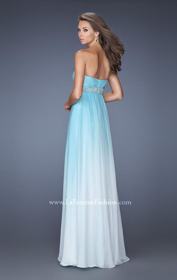 Picture of: Ombre Dyed Long Prom Gown with Plunging Neckline in Blue, Style: 20005, Back Picture