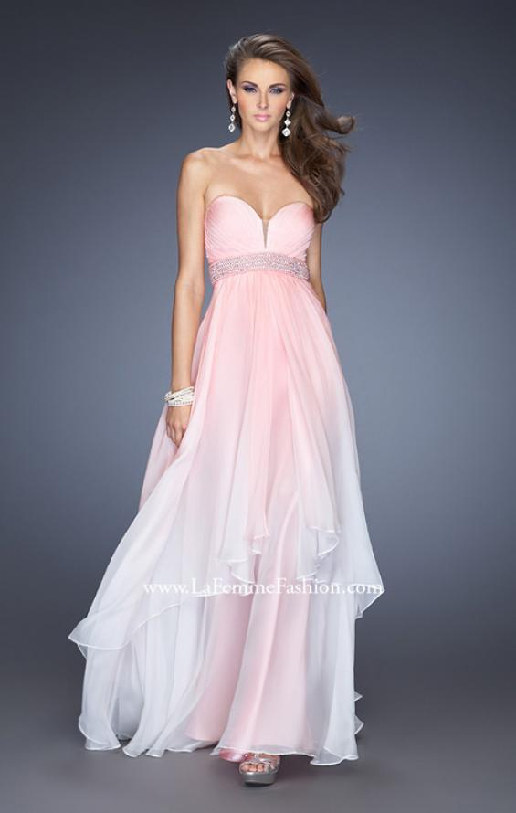 Picture of: Ombre Dyed Long Prom Gown with Plunging Neckline in Pink, Style: 20005, Detail Picture 1