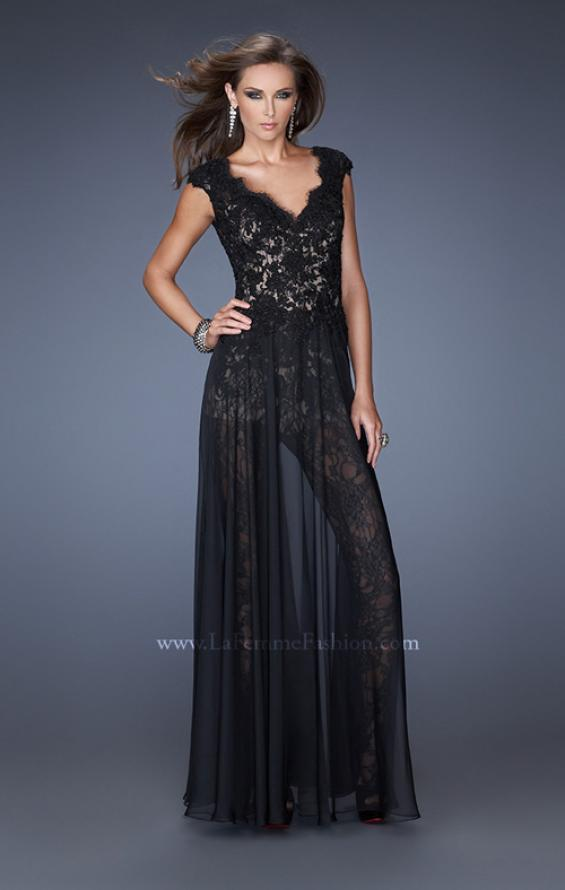 Picture of: Lace Romper with Sheer Chiffon Skirt Overlay in Black, Style: 20010, Main Picture