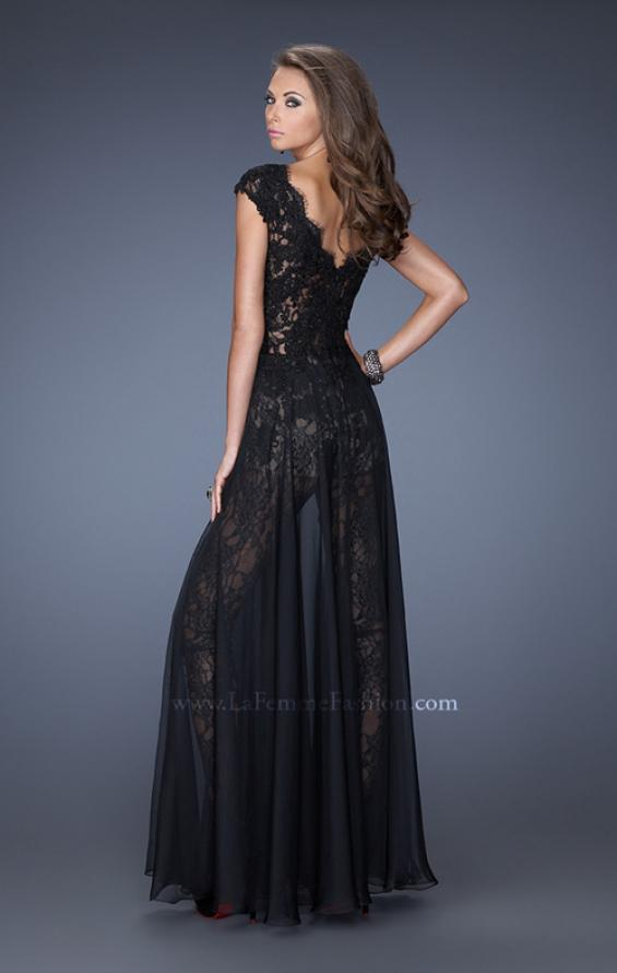 Picture of: Lace Romper with Sheer Chiffon Skirt Overlay in Black, Style: 20010, Back Picture