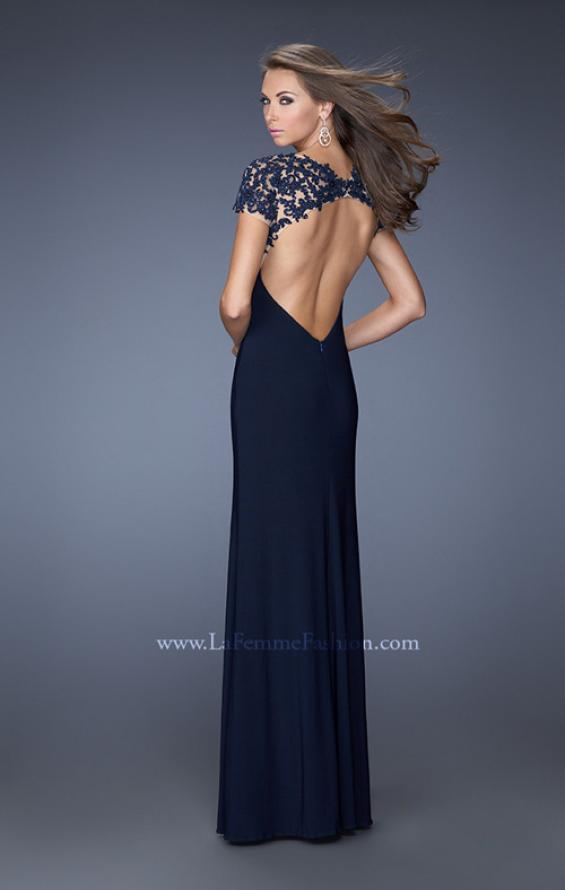 Picture of: Fitted Jersey Prom Dress with Side Leg Slit and V Neck, Style: 20011, Back Picture