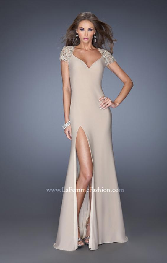 Picture of: Fitted Jersey Prom Dress with Side Leg Slit and V Neck, Style: 20011, Detail Picture 1