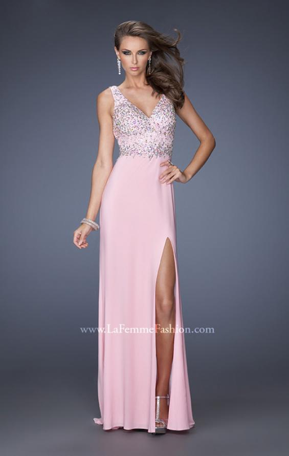 Picture of: V Neck Front and Back Long Prom Dress with Jewels in Pink, Style: 20020, Main Picture