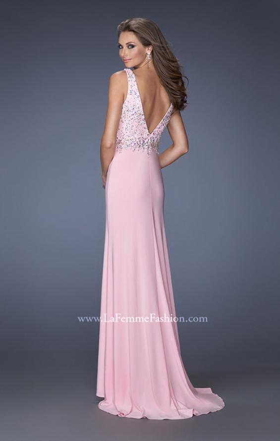 Picture of: V Neck Front and Back Long Prom Dress with Jewels in Pink, Style: 20020, Back Picture