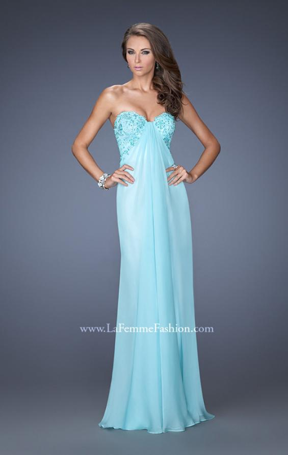 Picture of: Strapless Chiffon Prom Gown with Criss Cross Back in Blue, Style: 20023, Main Picture