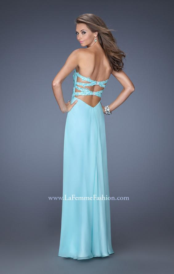 Picture of: Strapless Chiffon Prom Gown with Criss Cross Back in Blue, Style: 20023, Back Picture