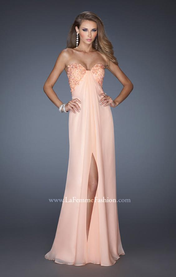 Picture of: Strapless Chiffon Prom Gown with Criss Cross Back in Orange, Style: 20023, Detail Picture 1