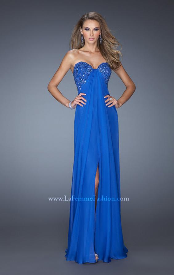 Picture of: Strapless Chiffon Prom Gown with Criss Cross Back in Blue, Style: 20023, Detail Picture 2