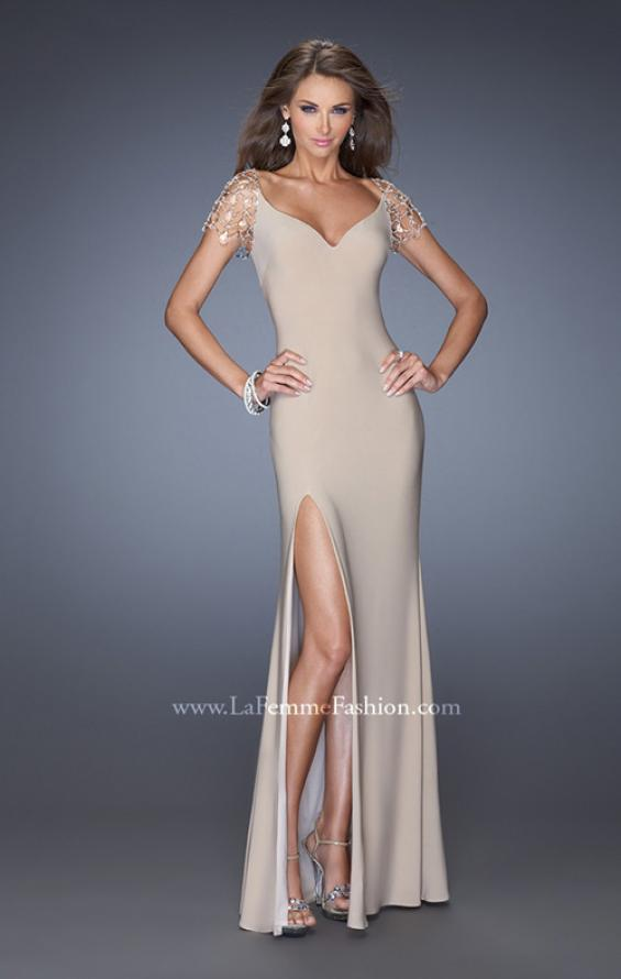 Picture of: Long Fitted Jersey Gown and Cap Sleeves and Slit, Style: 20025, Detail Picture 8