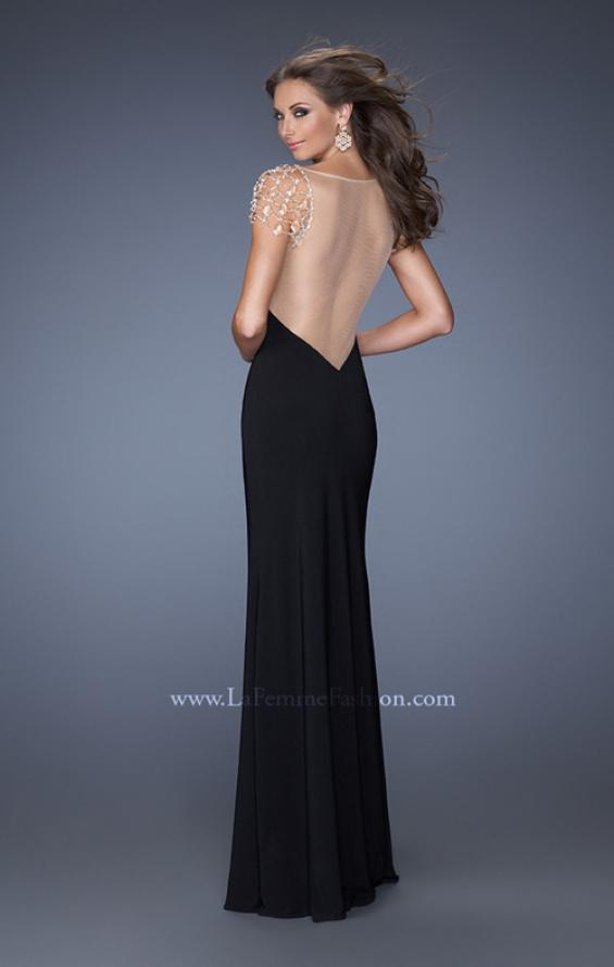 Picture of: Long Fitted Jersey Gown and Cap Sleeves and Slit, Style: 20025, Back Picture