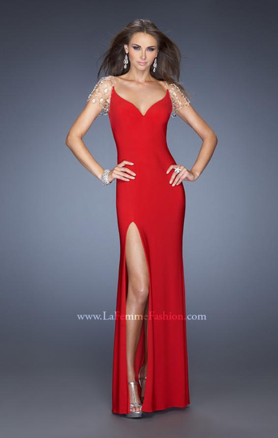 Picture of: Long Fitted Jersey Gown and Cap Sleeves and Slit, Style: 20025, Detail Picture 1