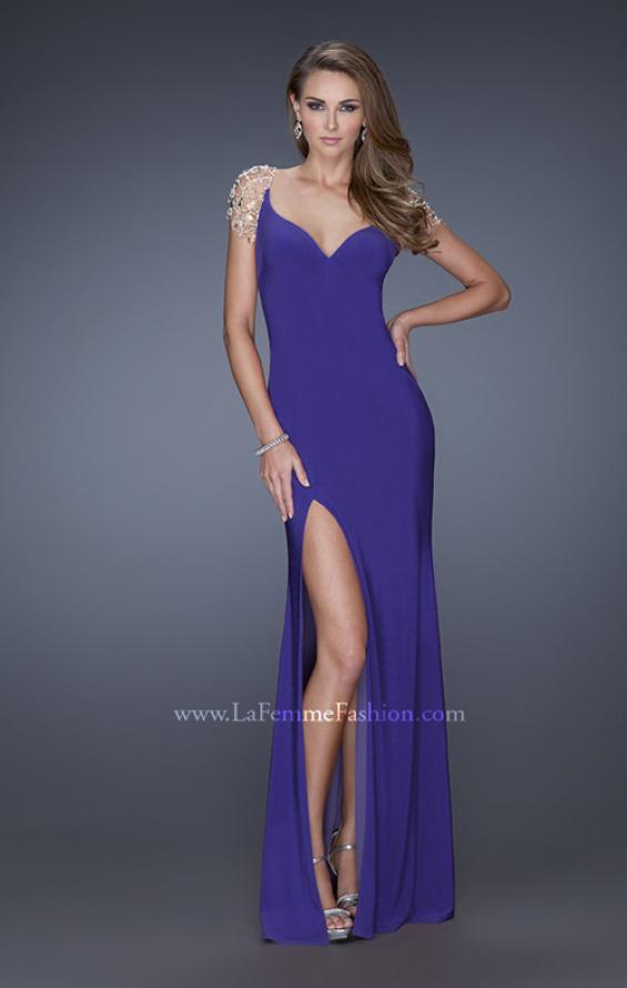 Picture of: Long Fitted Jersey Gown and Cap Sleeves and Slit, Style: 20025, Detail Picture 2