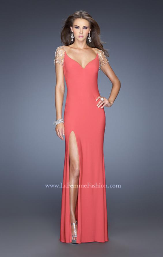 Picture of: Long Fitted Jersey Gown and Cap Sleeves and Slit, Style: 20025, Detail Picture 3