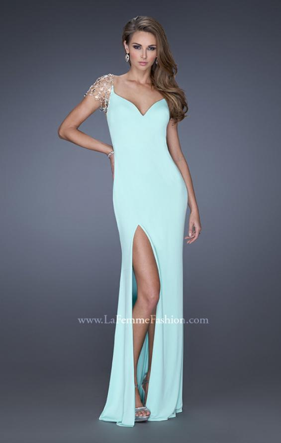 Picture of: Long Fitted Jersey Gown and Cap Sleeves and Slit, Style: 20025, Detail Picture 4