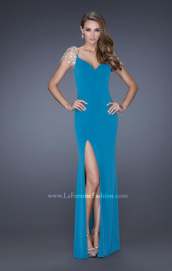 Picture of: Long Fitted Jersey Gown and Cap Sleeves and Slit, Style: 20025, Detail Picture 6