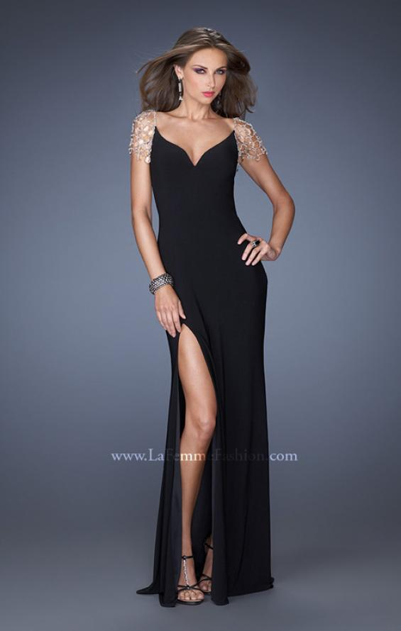 Picture of: Long Fitted Jersey Gown and Cap Sleeves and Slit, Style: 20025, Detail Picture 7