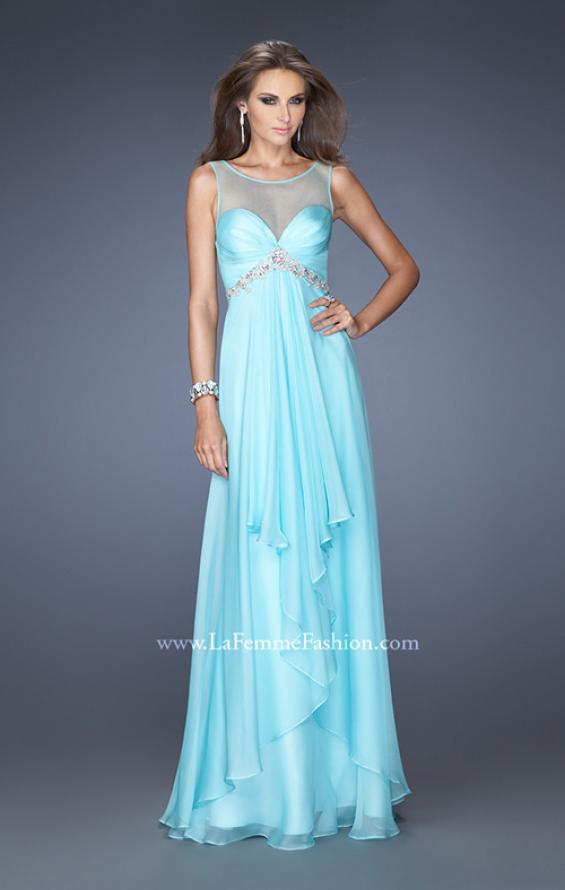 Picture of: Chiffon Prom Gown with Tiered Gathered Skirt and Belt in Blue, Style: 20026, Main Picture