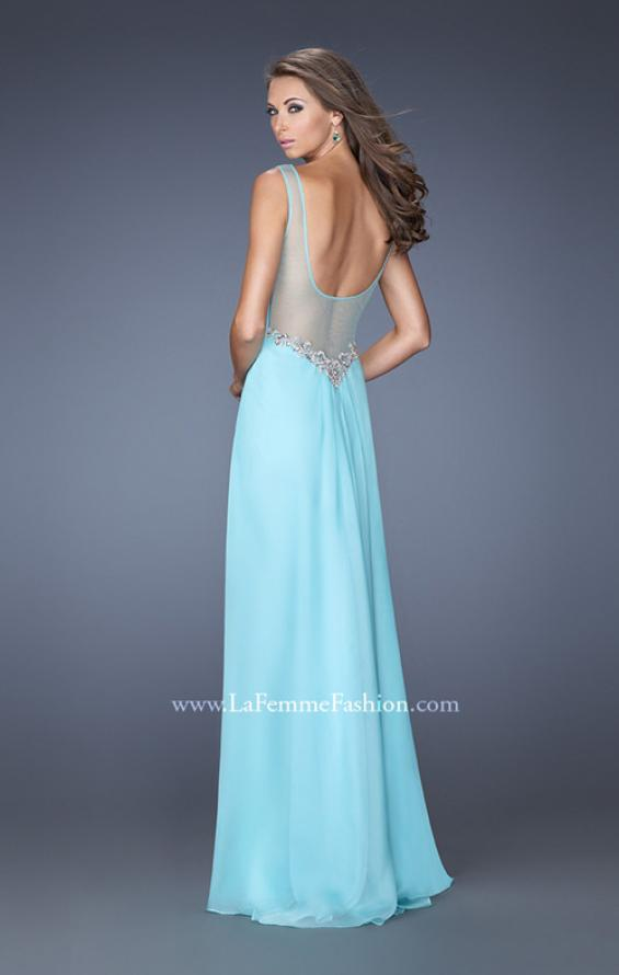 Picture of: Chiffon Prom Gown with Tiered Gathered Skirt and Belt in Blue, Style: 20026, Back Picture