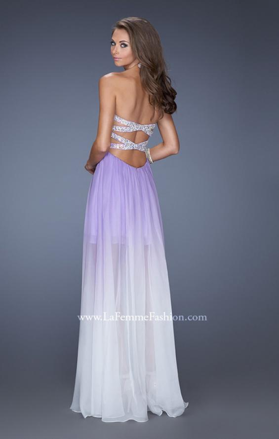 Picture of: Strapless Ombre Prom Dress with Ruching and Jewels, Style: 20028, Back Picture