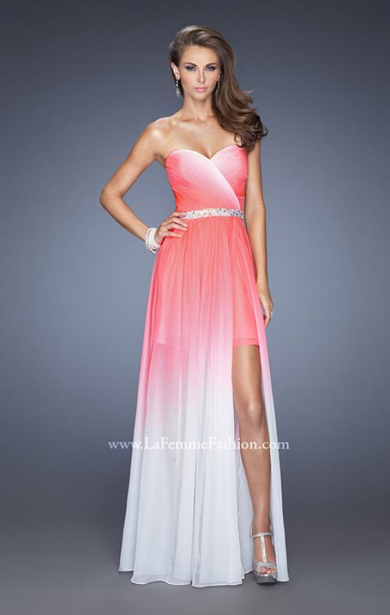 Picture of: Strapless Ombre Prom Dress with Ruching and Jewels, Style: 20028, Detail Picture 1