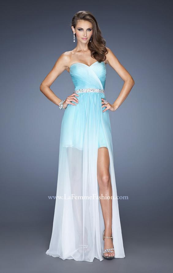 Picture of: Strapless Ombre Prom Dress with Ruching and Jewels, Style: 20028, Detail Picture 2