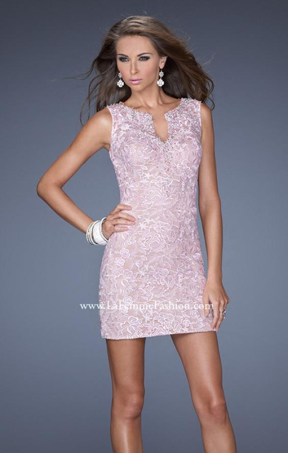 Picture of: Lace Mini Dress with V Neck and Jewel Details, Style: 20029, Main Picture