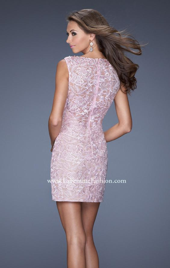 Picture of: Lace Mini Dress with V Neck and Jewel Details, Style: 20029, Back Picture