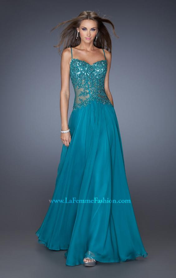 Picture of: Drop Waist Chiffon Prom Dress with Stone Adorned Lace in Green, Style: 20031, Detail Picture 1