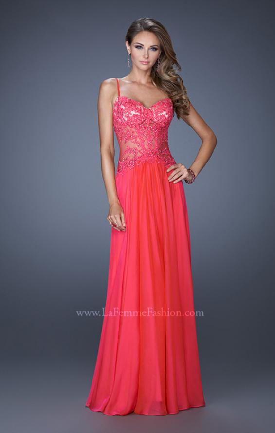 Picture of: Drop Waist Chiffon Prom Dress with Stone Adorned Lace in Pink, Style: 20031, Detail Picture 3
