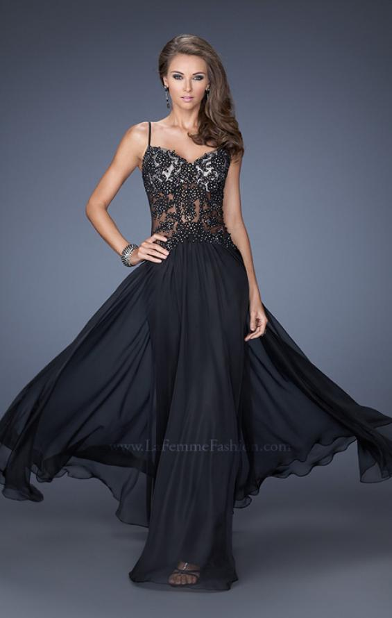 Picture of: Drop Waist Chiffon Prom Dress with Stone Adorned Lace in Black, Style: 20031, Detail Picture 4