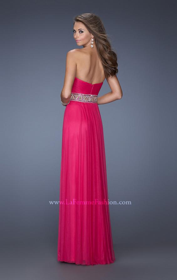Picture of: Long Net Column Gown with Deco Style Belt and Jewels, Style: 20034, Back Picture