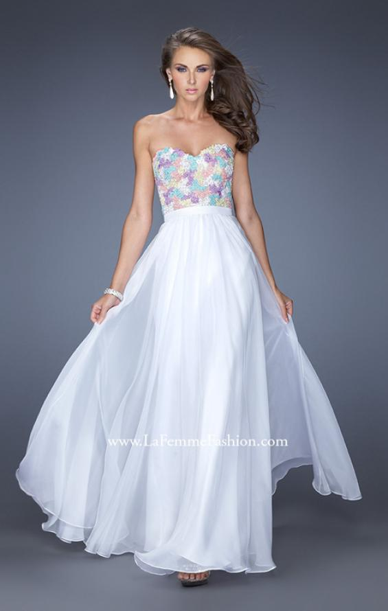 Picture of: Strapless Prom Gown with Lace Bodice and Chiffon Skirt in White, Style: 20036, Main Picture
