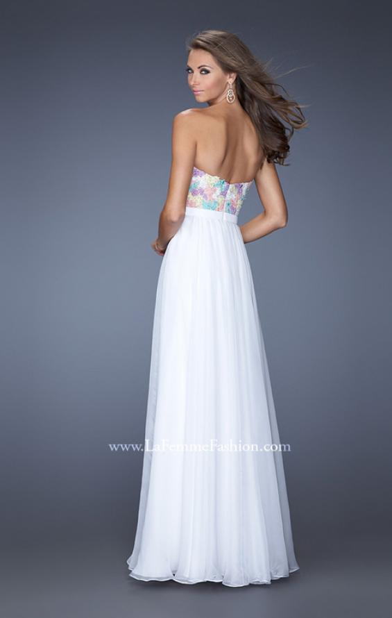 Picture of: Strapless Prom Gown with Lace Bodice and Chiffon Skirt in White, Style: 20036, Back Picture