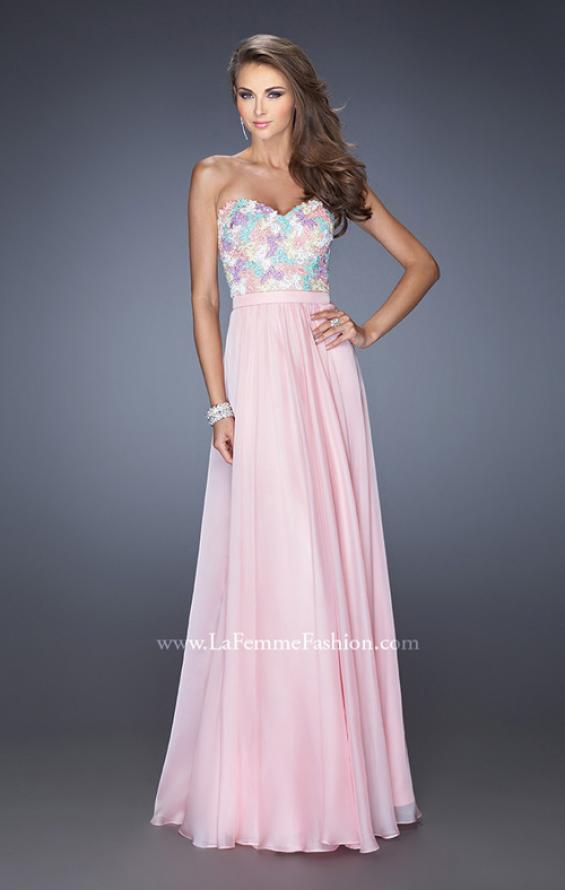 Picture of: Strapless Prom Gown with Lace Bodice and Chiffon Skirt in Pink, Style: 20036, Detail Picture 1
