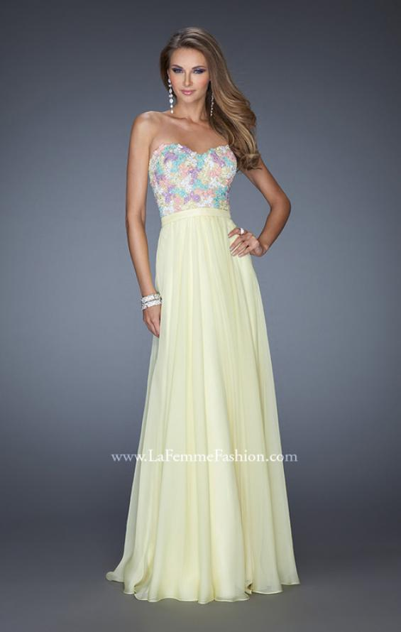 Picture of: Strapless Prom Gown with Lace Bodice and Chiffon Skirt in Yellow, Style: 20036, Detail Picture 2