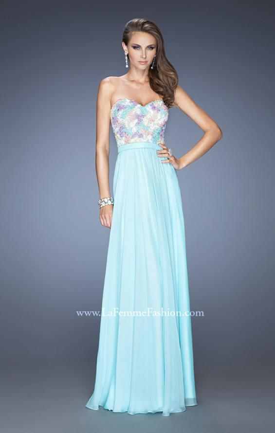 Picture of: Strapless Prom Gown with Lace Bodice and Chiffon Skirt in Blue, Style: 20036, Detail Picture 3