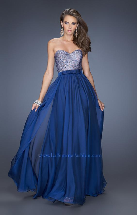 Picture of: Long Chiffon Prom Dress with Satin Bow Belt, Style: 20041, Main Picture