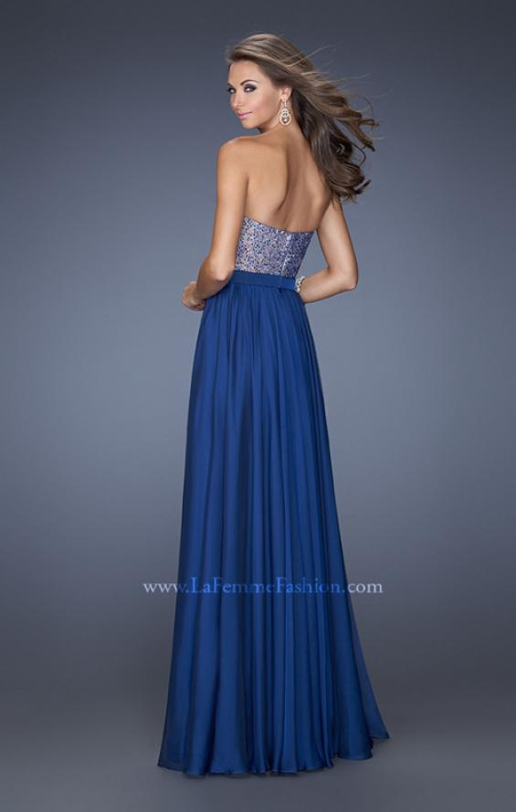 Picture of: Long Chiffon Prom Dress with Satin Bow Belt, Style: 20041, Back Picture