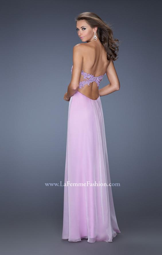 Picture of: Strapless Prom Gown with Empire Waist and Jewels in Purple, Style: 20042, Back Picture