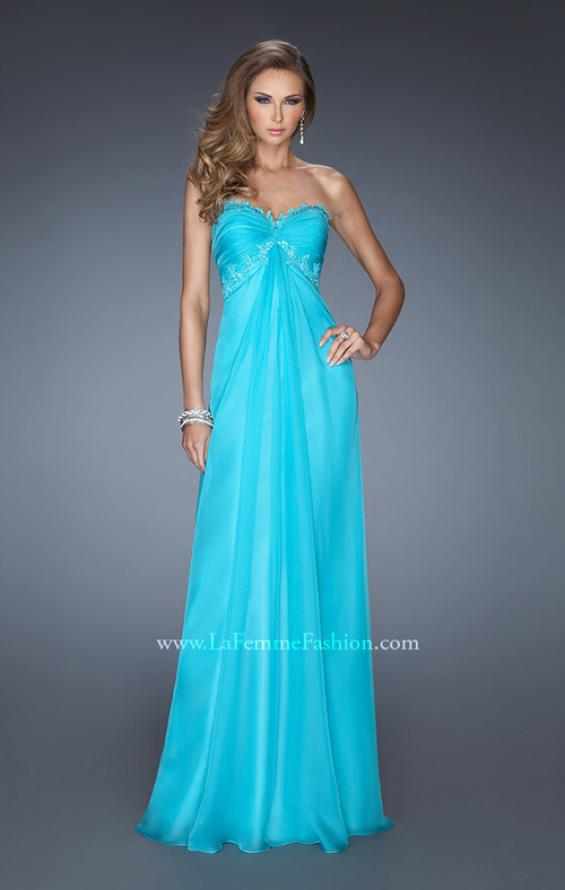 Picture of: Strapless Prom Gown with Empire Waist and Jewels in Blue, Style: 20042, Detail Picture 1