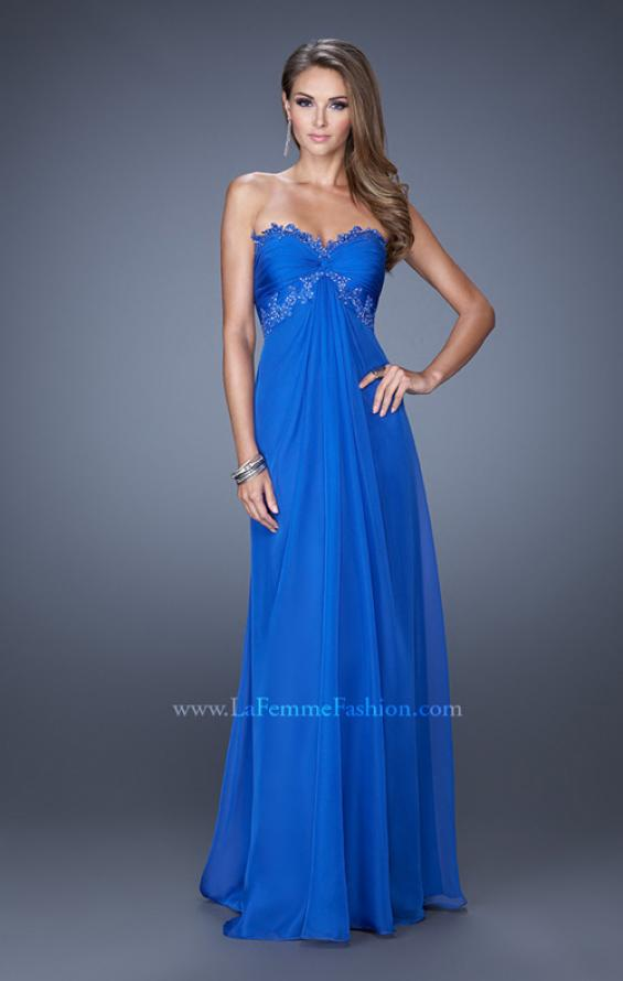 Picture of: Strapless Prom Gown with Empire Waist and Jewels in Blue, Style: 20042, Detail Picture 2