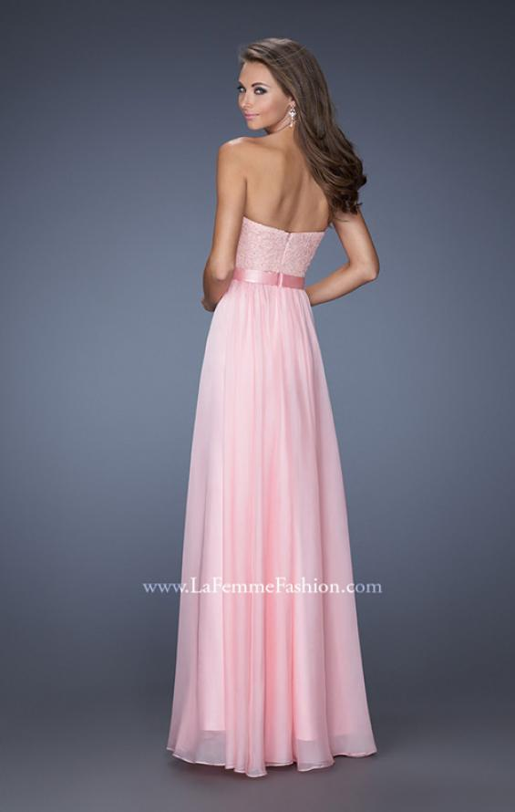 Picture of: Long Strapless Dress with Jeweled Lace and Bow Belt in Pink, Style: 20046, Back Picture