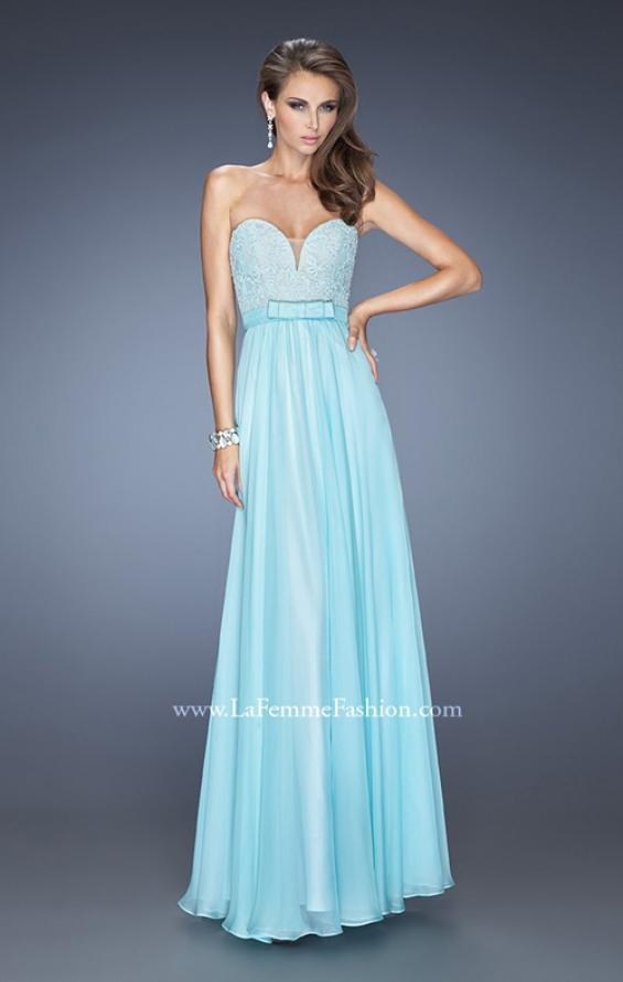 Picture of: Long Strapless Dress with Jeweled Lace and Bow Belt in Blue, Style: 20046, Detail Picture 2