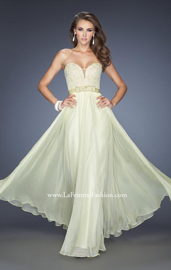 Picture of: Long Strapless Dress with Jeweled Lace and Bow Belt in Yellow, Style: 20046, Detail Picture 3
